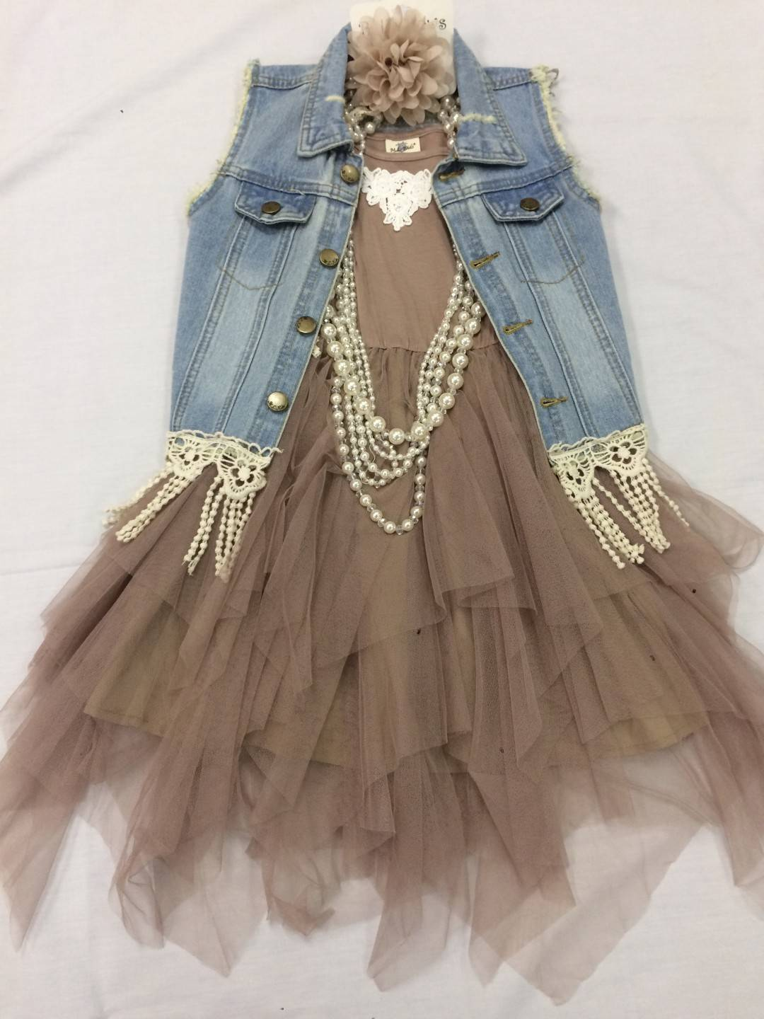 6833b424a0 ML KIDS TAUPE DRESS AND JEAN VEST 2-PIECE SET SIZES 5-12 ...
