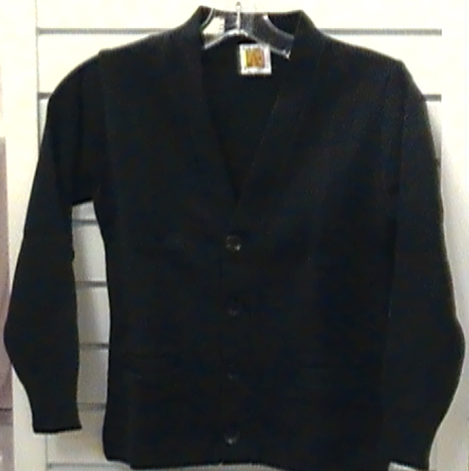 R.A. Black Magnet SchoolBlack V-neck Cardigan with School Logo